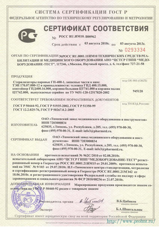 сертификат ГП-400-1 Стерилизатор паровой