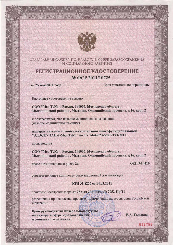 сертификат ЭЛЭСКУЛАП-2 МедТеКо