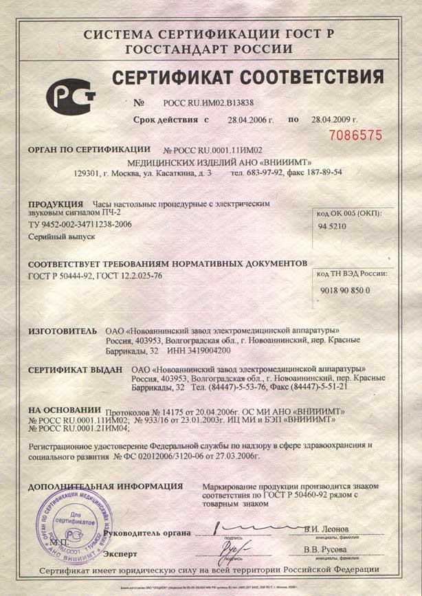 сертификат ПЧ-2 - часы процедурные